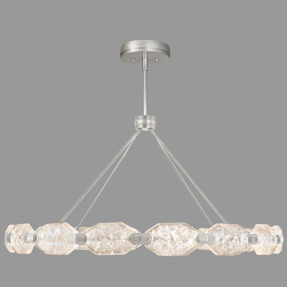 Grand lustre argent et cristal taillé, éclairage LED. Fine Art Lamps.
