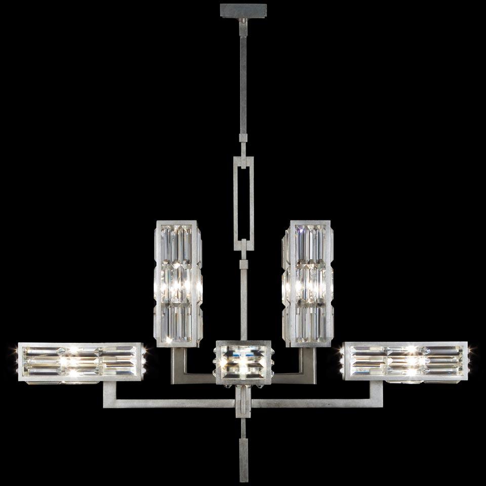Grand lustre de boîtes rectangulaires en prismes de cristal - Crystal Enchantment. Fine Art Lamps.