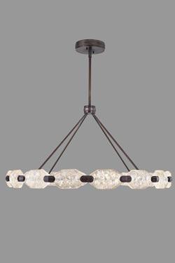 Grand lustre en bronze patiné, éclairage LED. Fine Art Lamps.