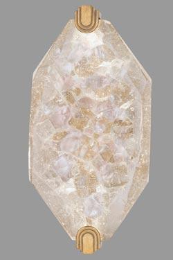 Grande applique en feuille d'or et cristal taillé éclairage LED Allison Paladino doré. Fine Art Lamps.