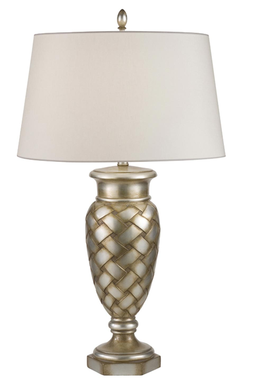 Lampe amphore motif bois tressé bronze argenté vieilli patiné. Fine Art Lamps.