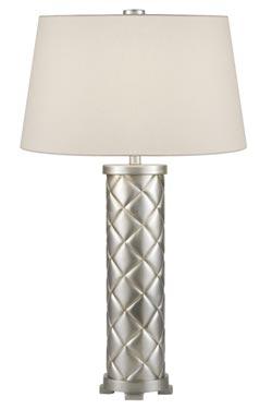Lampe capitonnée en cylindre décorée à la feuille d'argent - Recollection. Fine Art Lamps.