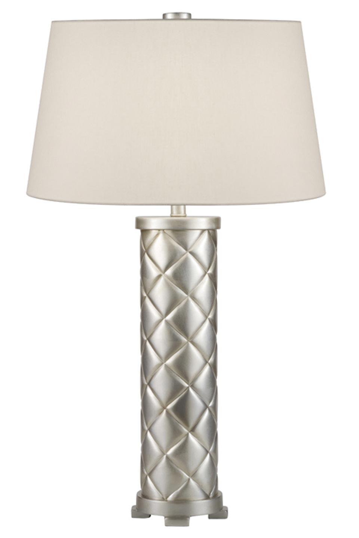 Lampe capitonnée en cylindre décorée à la feuille d