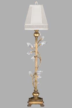 Lampe colonne vieil or cannelée et pampilles en feuilles. Fine Art Lamps.