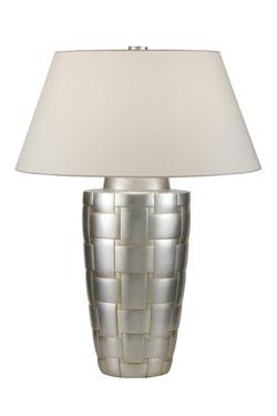 Lampe en porcelaine motif bois tressé décorée à la feuille d'argent. Fine Art Lamps.