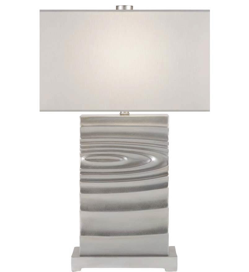 Lampe motif vagues en bronze décoré à la feuille d
