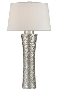 Lampe tressée en porcelaine décorée à la feuille d'argent. Fine Art Lamps.