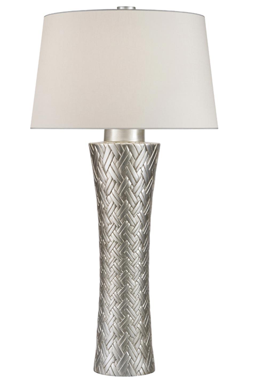 Lampe tressée en porcelaine décorée à la feuille d