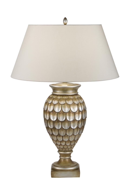 Lampe vase motif écailles bronze argenté patiné vieil or. Fine Art Lamps.