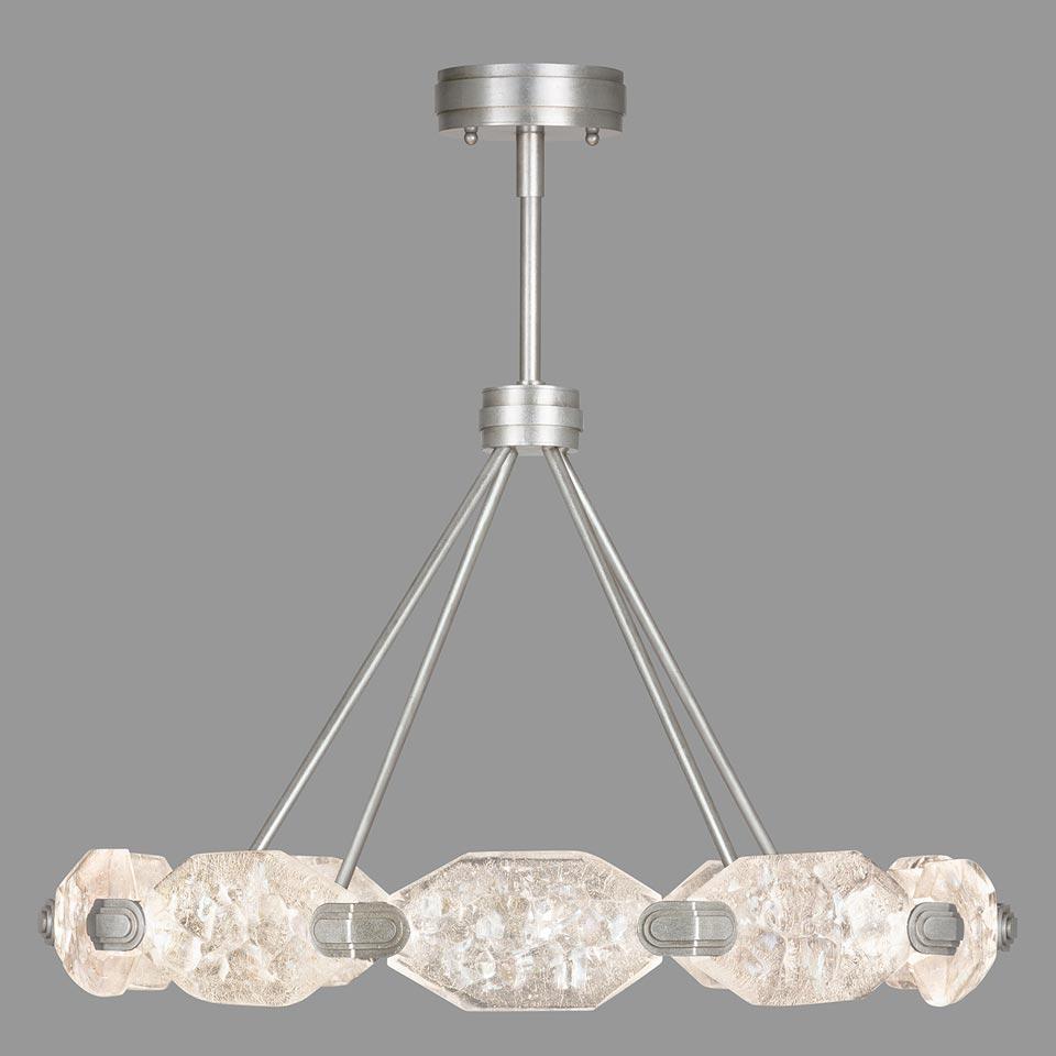 Lustre aux dix cristaux taillés et éclairage LED. Fine Art Lamps.