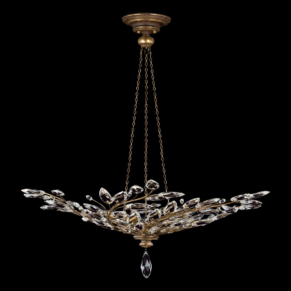 Lustre cristal en bouquet de branchages vieil or - Collection Crystal Laurel. Fine Art Lamps.