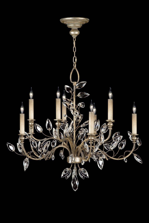Lustre de cristal en bouquet vieil argent - Collection Crystal Laurel - Huit lumières. Fine Art Lamps.