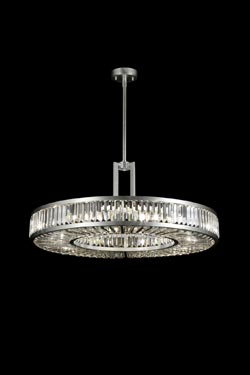 Lustre rond en disque et prismes de cristal - Crystal Enchantement 74cm. Fine Art Lamps.