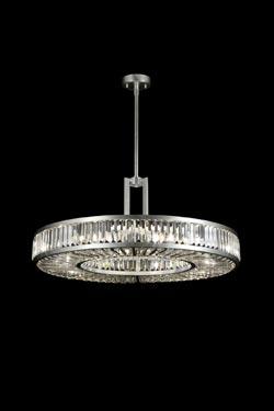 Lustre rond en disque et prismes de cristal - Crystal Enchantment 74cm. Fine Art Lamps.