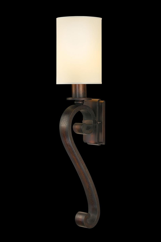 Portobello Road grande applique en métal patiné en volute et abat-jour cylindrique. Fine Art Lamps.