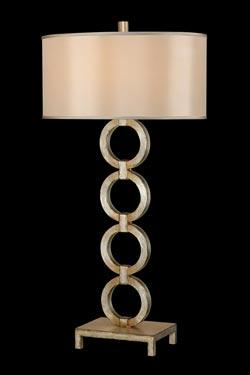 Portobello Road lampe en cercles superposés décorée à la feuille d'argent. Fine Art Lamps.