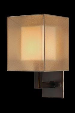 Quadralli applique abat-jour cubique bronze naturel. Fine Art Lamps.