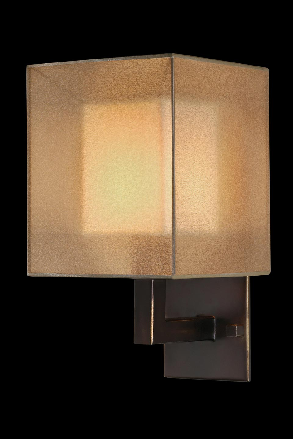 Quadralli applique abat-jour cubique bronze naturel. Fine Art Lamps.