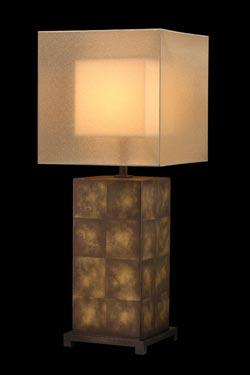 Quadralli lampe en bronze naturel abat-jour cubique. Fine Art Lamps.