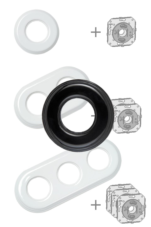 Encadrement en porcelaine noire pour interrupteurs Fontini Garby en saillie - 1 position. Fontini.