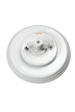 Garby Colonial interrupteur rotatif en porcelaine blanche à oreillettes va et vient . Fontini.