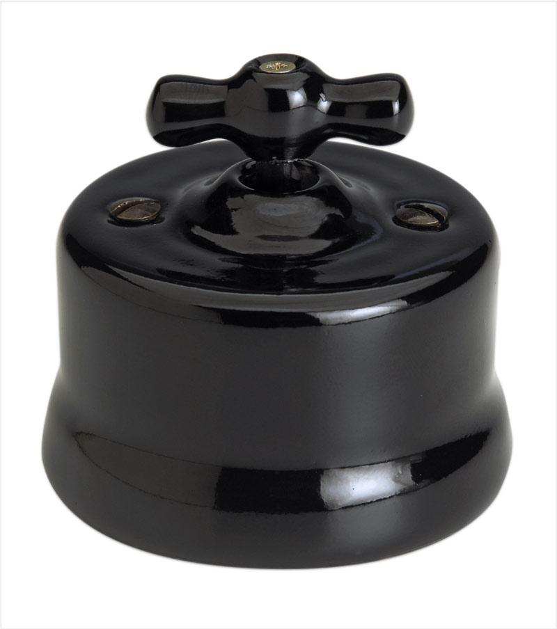 Garby interrupteur porcelaine noire rotatif en applique va et vient. Fontini.
