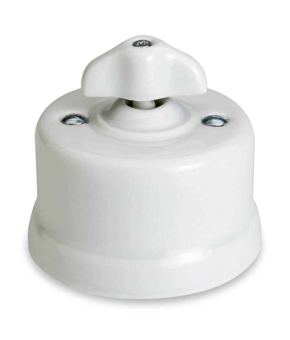 Garby interrupteur rotatif porcelaine blanche en applique à oreillettes va et vient. Fontini.