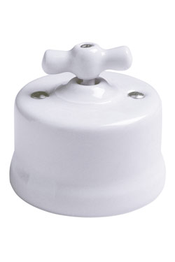 Garby interrupteur rotatif porcelaine blanche en applique va et vient. Fontini.