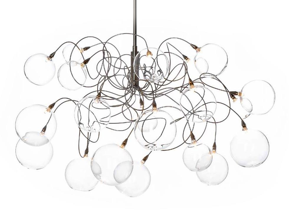 Bubbles lustre 20 lumières transparentes. Harco Loor.