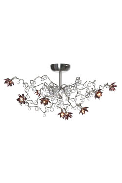 Jewel Diamond amethyst 9-light ceiling light in clear and amethyst glass. Harco Loor.