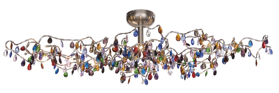 newest 4a560 c1297 Oval ceiling light with 15 lights and multicoloured drops
