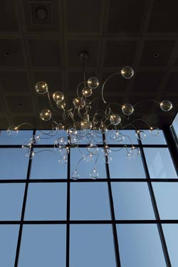 Big Bubbles 35-light clear glass ball chandelier. Harco Loor.