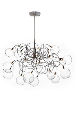 Bubbles 20-light clear glass ball chandelier. Harco Loor.