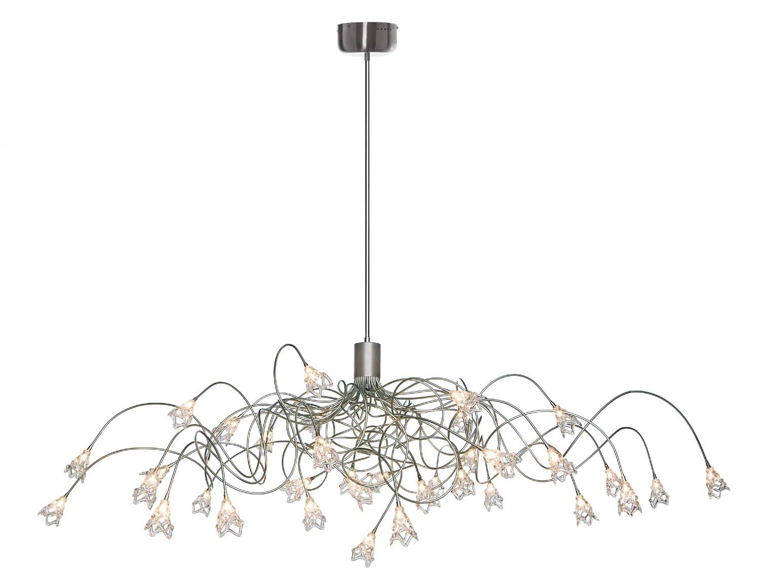 Spectacular Oval Chandelier With 35 Lights In Clear Gl Flowers