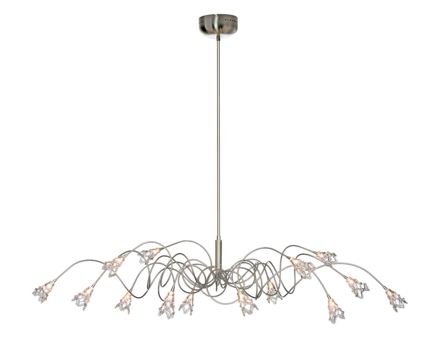 Flag oval 14-light chandelier with glass flowers. Harco Loor.