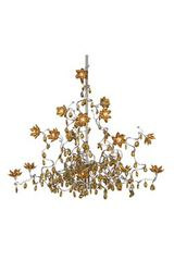 Jewel amber 15-light chandelier in glass and metal. Harco Loor.