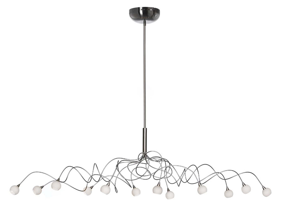 Snowball oval 12-light chandelier with white opal-glass balls. Harco Loor.