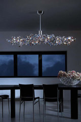 Tiara 24-light multicoloured oval chandelier in cut glass. Harco Loor.