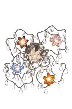 Jewel applique ou plafonnier 5 lumières multicolore en verre taillé. Harco Loor.