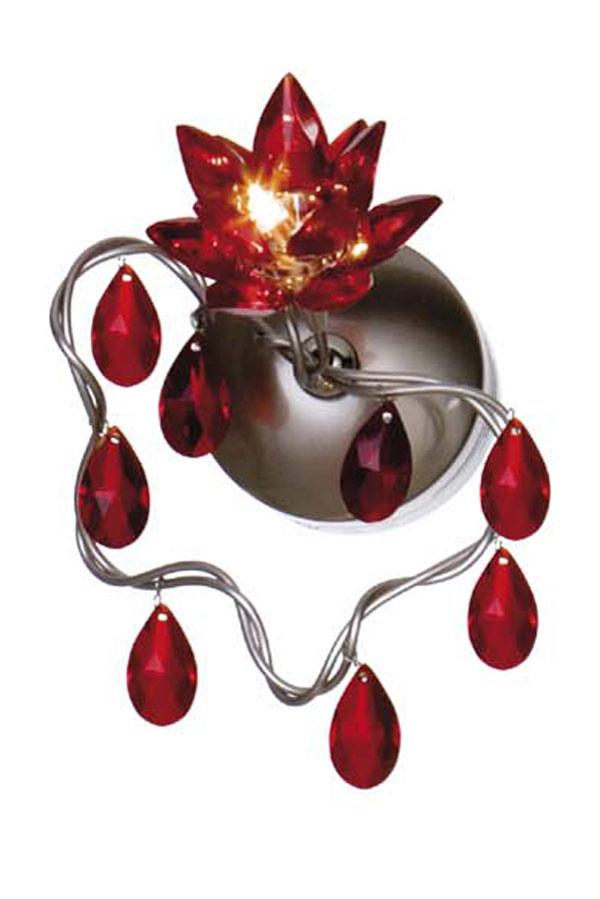 Jewel applique ou plafonnier simple rouge en verre taillé. Harco Loor.