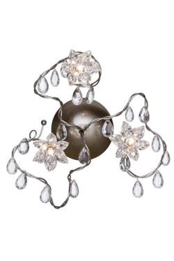 Jewel applique ou plafonnier triple transparente en verre taillé. Harco Loor.