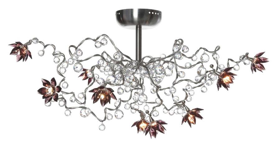 Jewel Diamond améthyste plafonnier 9 lumières en verre transparent et améthyste. Harco Loor.