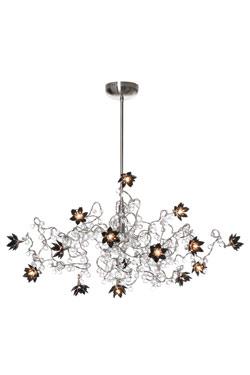 Jewel Diamond Lustre 15 lumières en verre transparent et noir. Harco Loor.