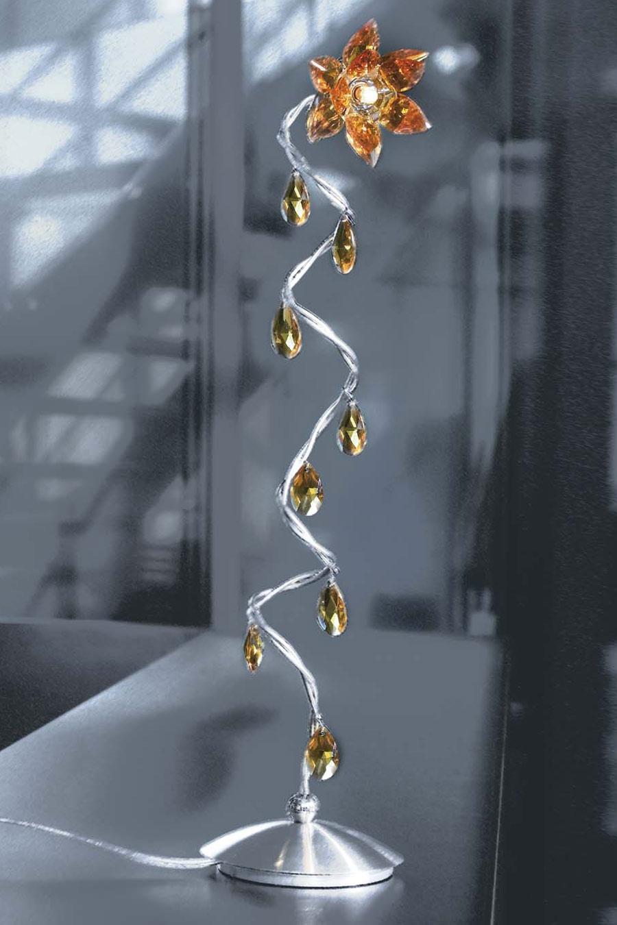 Jewel lampe de table 1 lumière ambre en verre taillé ambre. Harco Loor.