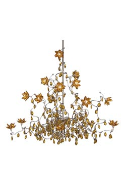 Jewel lustre ambre 15 lumières en verre et métal. Harco Loor.