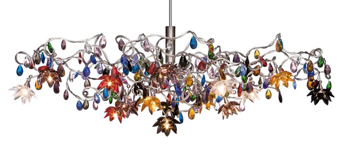 Jewel lustre en verre multicolore 15 lumières . Harco Loor.