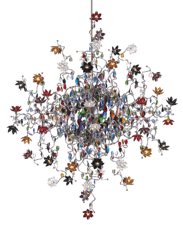 Jewel lustre  en verre multicolore 48 lumières. Harco Loor.