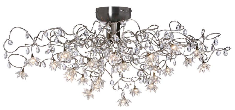 Jewel plafonnier transparent 24 lumières en verre transparent. Harco Loor.