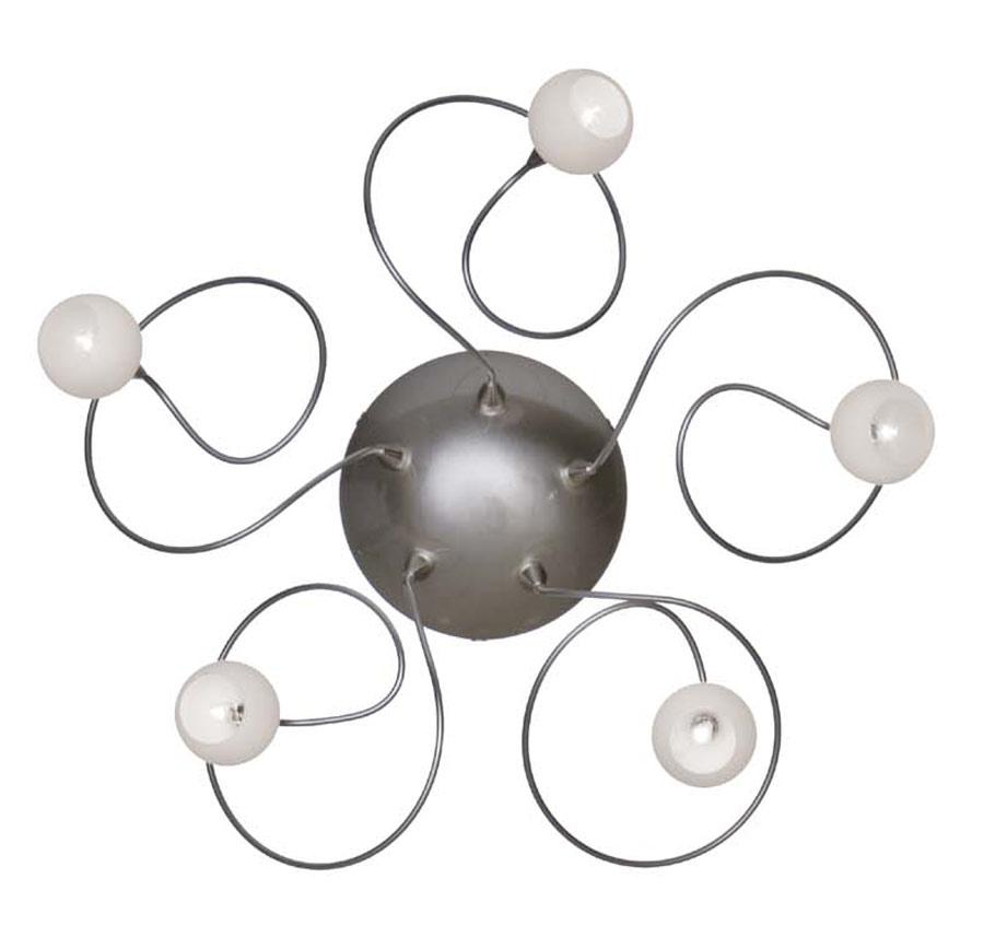 Snowball applique ou plafonnier 5 lumières boules blanches en verre. Harco Loor.