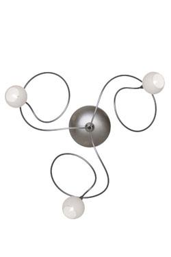 Snowball applique ou plafonnier 3 lumières boules blanches en verre. Harco Loor.